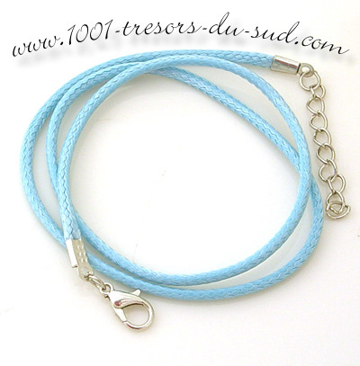 collier • cotton ciré • 50 cm • bleu clair