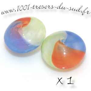 CREUSE • 1 perle • rond plat • 16 mm • multi