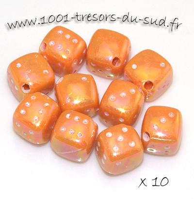 dés lustrés • 10 perles • 8 mm • orange