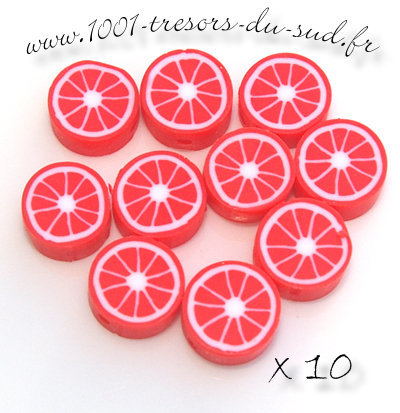 agrumes • 10 PERLES FIMO • 10 mm • rouge