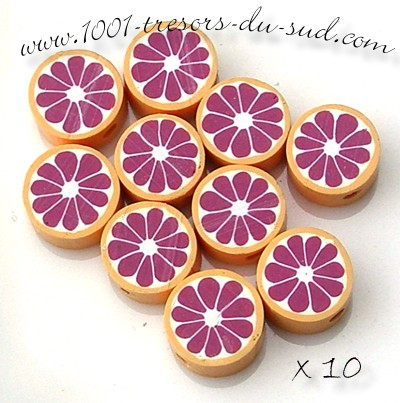 agrumes • 10 PERLES FIMO • 10 mm • violet orange