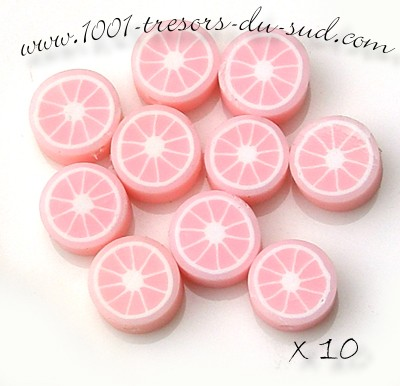 agrumes  • 10 PERLES FIMO • 10 mm • rose