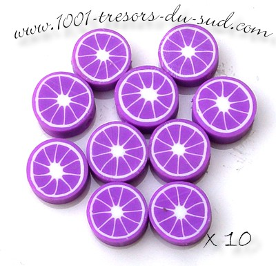 agrumes • 10 PERLES FIMO • 10 mm • violet