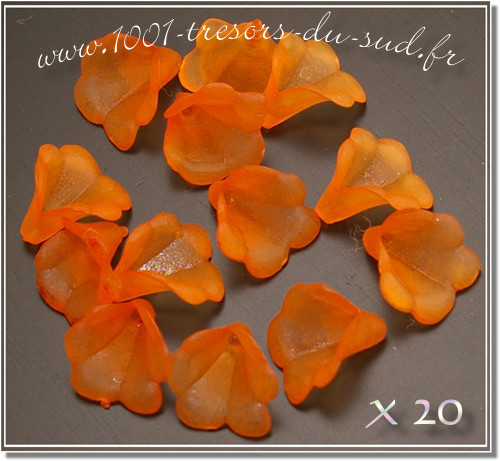 fleurs transparentes mat • 20 perles • 10 mm • orange