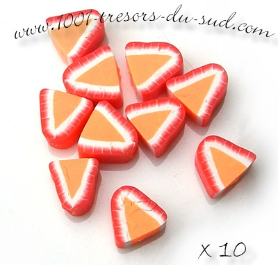fruits • 10 PERLES FIMO • 10 mm • fraises