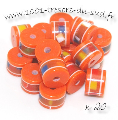 perles en résine • 20 tubes • 8 x 6 mm • orange