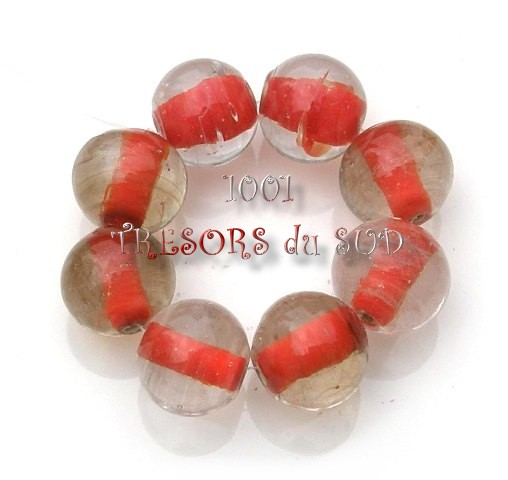 intercalaires • 8 PERLES verre • 12 mm • rouge
