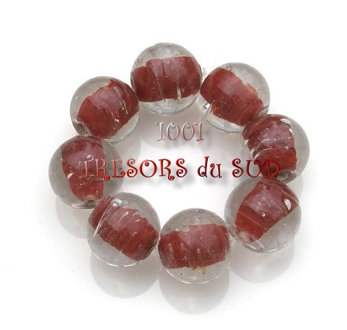 intercalaires • 8 PERLES verre • 12 mm • marron