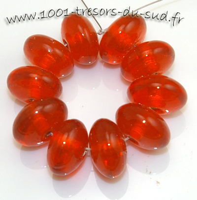 10 PERLES verre • LAMPWORK • INTERCALAIRE orange • 12 mm