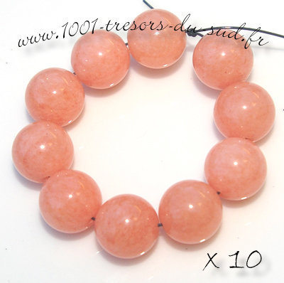 JADE • 10 PERLES en pierre • 10 mm • orange clair