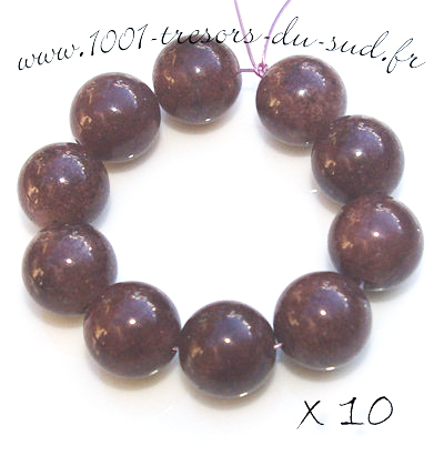 JADE • 10 PERLES en pierre • 10 mm • marron