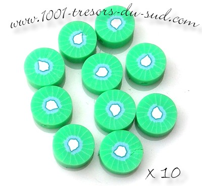 fruits • 10 PERLES FIMO • 10 mm • kiwi