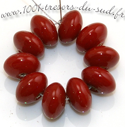 10 PERLES verre • LAMPWORK • INTERCALAIRE rouge • 12 mm