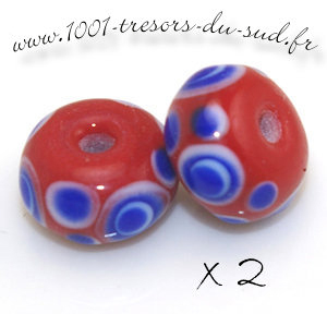 perles en verre • 2 perles à points • LAMPWORK • 13 mm • rouge