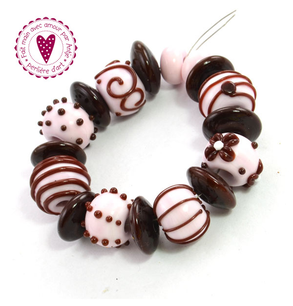 CREATION D' ART • perles au chalumeau • rose chocolat