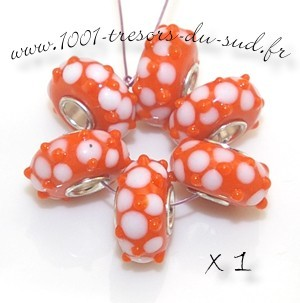 LAMPWORK • 1 perle PANDORA • à tube • orange
