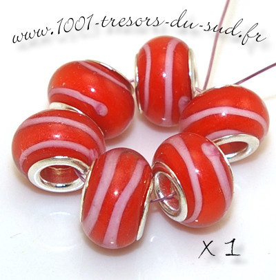 LAMPWORK • 1 perle PANDORA • rayures • orange rose
