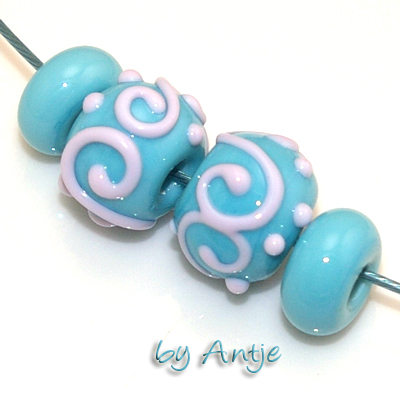 2 perles chalumeau + intercalaire • Murano • 14,5 mm • turquoise