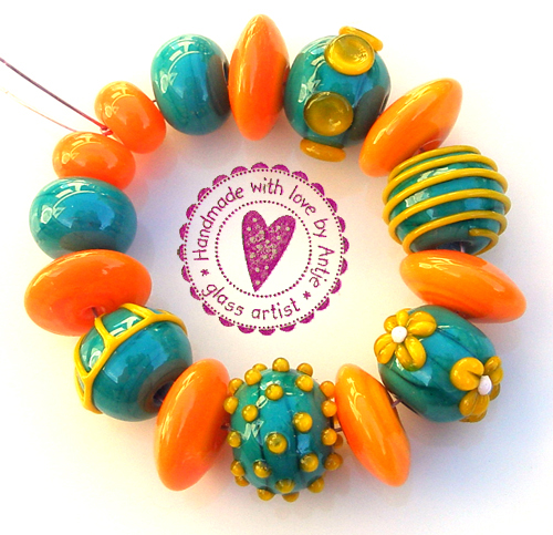 CREATION D' ART • perles au chalumeau • orange teal