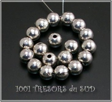 perles • ARGENT TIBETAIN • ROND 6 MM • 20 pièces