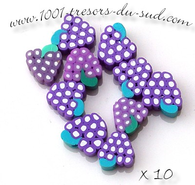 fruits • 10 PERLES FIMO • 10 mm • raisins