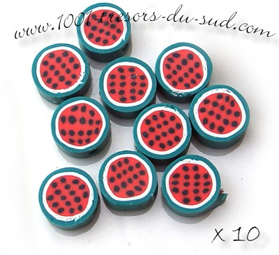 fruits • 10 PERLES FIMO • 10 mm • rouge vert