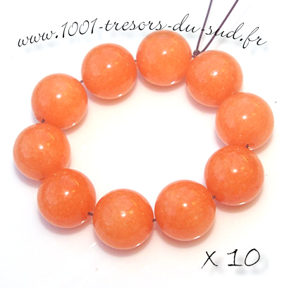 JADE • 10 PERLES en pierre • 10 mm • orange