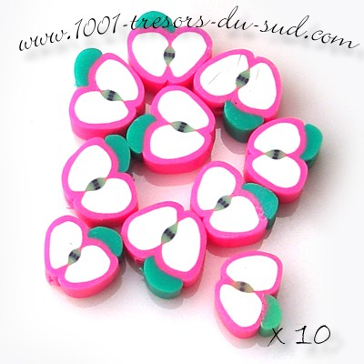 fruits • 10 PERLES FIMO • 10 mm • pommes