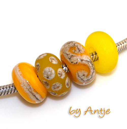 lot perles Murano • SRA • pour Pandora • jaune orange