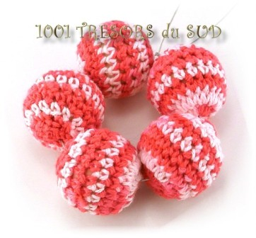 5 PERLES • coton • TRICOTE • rose framboise